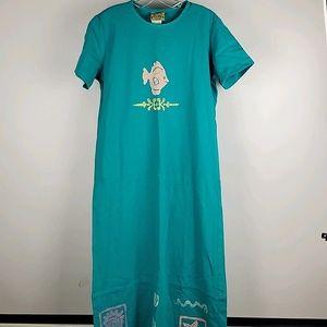 2 pc Blue Cactus Dress and Vest